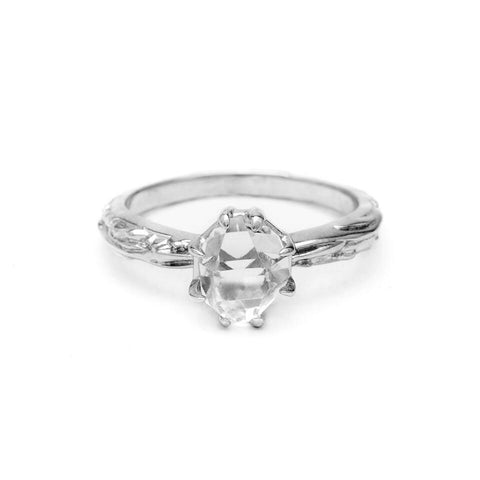 RAW MATRIX SOLITAIRE RING | WHITE GOLD & HERKIMER - AngelaMonacojewelry