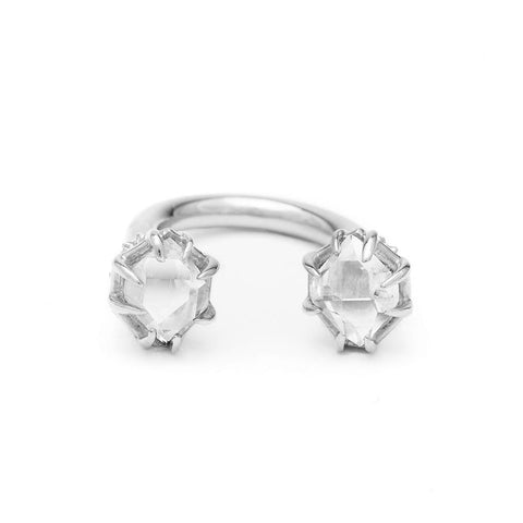 STATEMENT PASSAGE RING | WHITE GOLD & HERKIMER - AngelaMonacojewelry