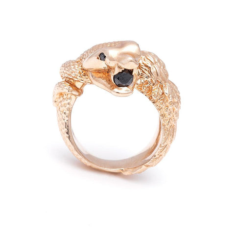 READY TO SHIP | TOTEM RING | GOLD PLATED BRONZE & ONYX - AngelaMonacojewelry
