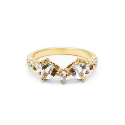 TRILLION PRAXIS CONTOUR BAND | 14k GOLD & HERKIMER - AngelaMonacojewelry