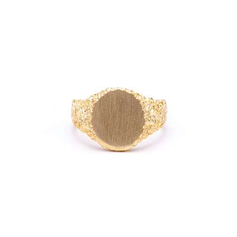 NEW | ROCKY SIGNET RING | GOLD VERMEIL - AngelaMonacojewelry