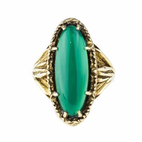 ROOTS TO SEED RING | GOLD VERMEIL & GREEN ONYX