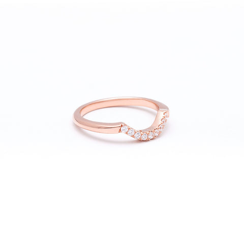 NEW | PAVE ARC 9 STONE CONTOUR BAND | 14k ROSE GOLD & DIAMOND - AngelaMonacojewelry
