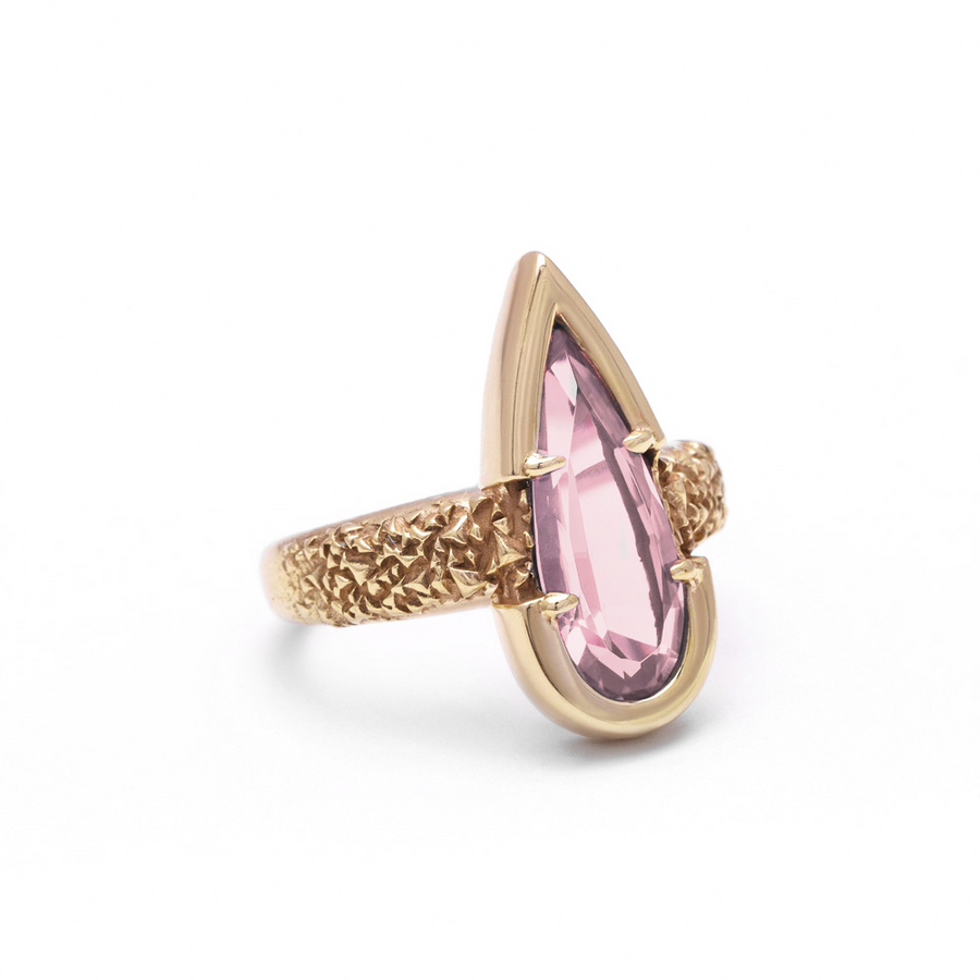 PHOENIX TEAR RING | ROSE QUARTZ & YELLOW GOLD VERMEIL