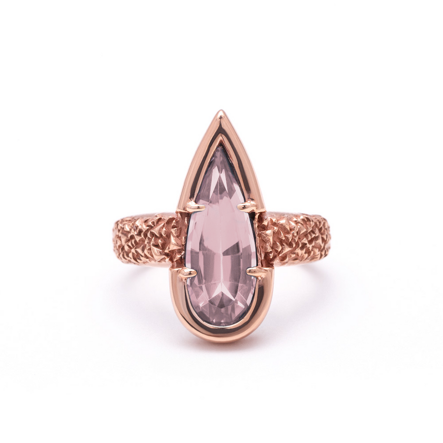 PHOENIX TEAR RING | ROSE QUARTZ & ROSE GOLD VERMEIL