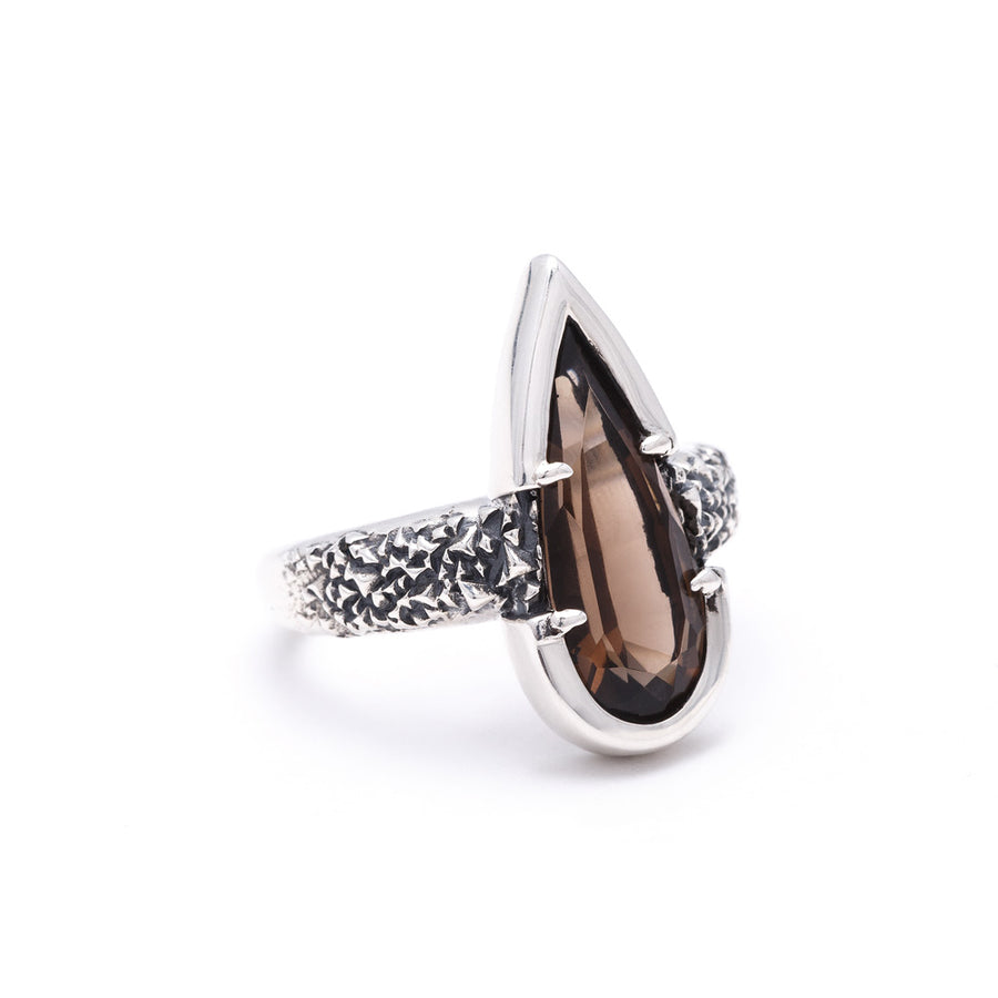 READY TO SHIP | PHOENIX TEAR RING | SMOKEY QUARTZ & SILVER | SIZE 7 - AngelaMonacojewelry