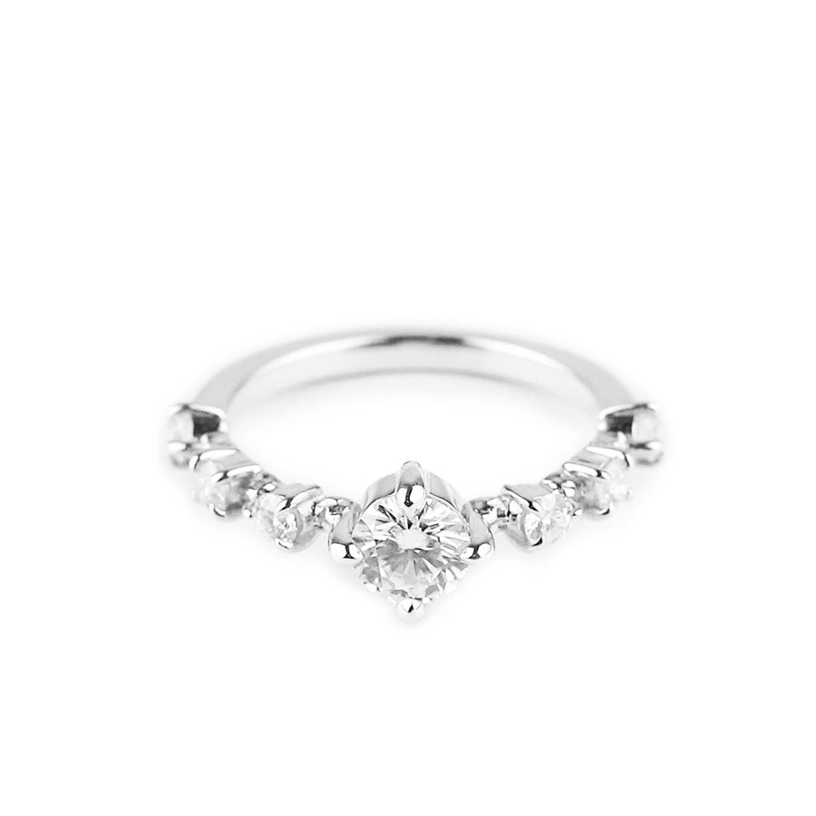 STRING OF STARS RING | 14K WHITE GOLD & MOISSANITE