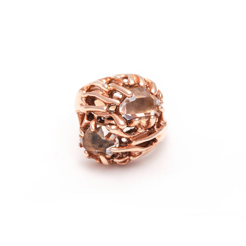 THISTLE RING | ROSE GOLD VERMEIL & HERKIMER - AngelaMonacojewelry