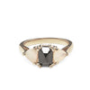 THREE STONE ENCHANTMENT RING | 14K GOLD | BLACK DIAMOND & OPAL