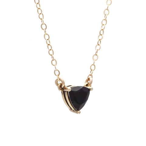 TRILLION PENDANT NECKLACE | GOLD VERMEIL & ONYX - AngelaMonacojewelry