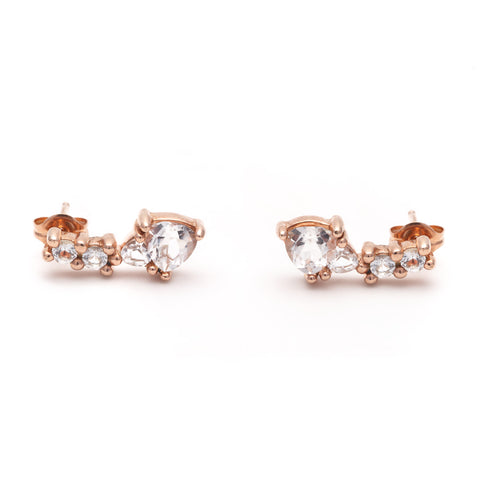 TRILLION PRAXIS CLIMBER EARRINGS | ROSE GOLD VERMEIL & HERKIMER - AngelaMonacojewelry