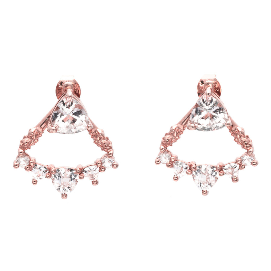 TRILLION CHANDELIER JACKET EARRINGS | ROSE GOLD & HERKIMER - AngelaMonacojewelry