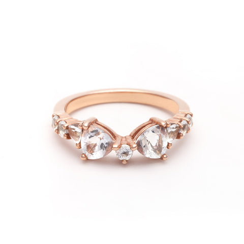 TRILLION PRAXIS CONTOUR BAND | ROSE GOLD & HERKIMER - AngelaMonacojewelry