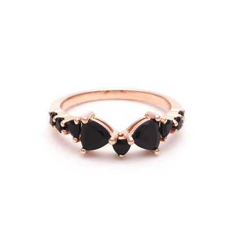 TRILLION PRAXIS CONTOUR BAND | ROSE GOLD & ONYX - AngelaMonacojewelry