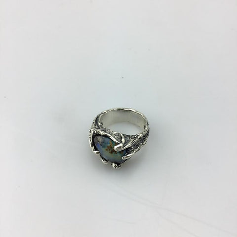 ONE OF A KIND | CALDERA RING | SILVER & BOULDER OPAL - AngelaMonacojewelry