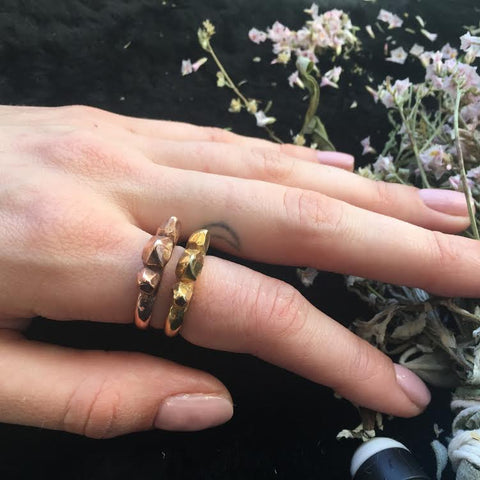READY TO SHIP | TRIPLE SPIKE RING | GOLD VERMEIL - AngelaMonacojewelry