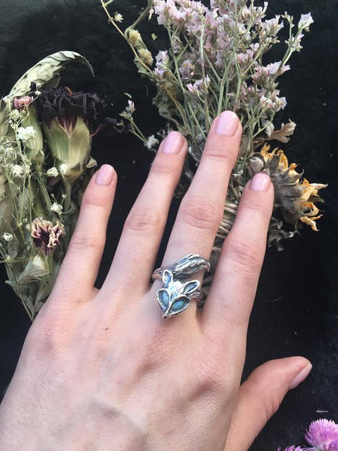 ENCHANTED FOX RING | SILVER & OPAL - AngelaMonacojewelry