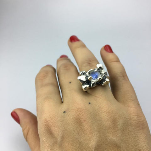 ELIXIR COCKTAIL RING | SILVER & MOONSTONE - AngelaMonacojewelry