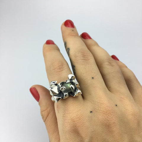 ELIXIR COCKTAIL RING | SILVER & LABRADORITE - AngelaMonacojewelry