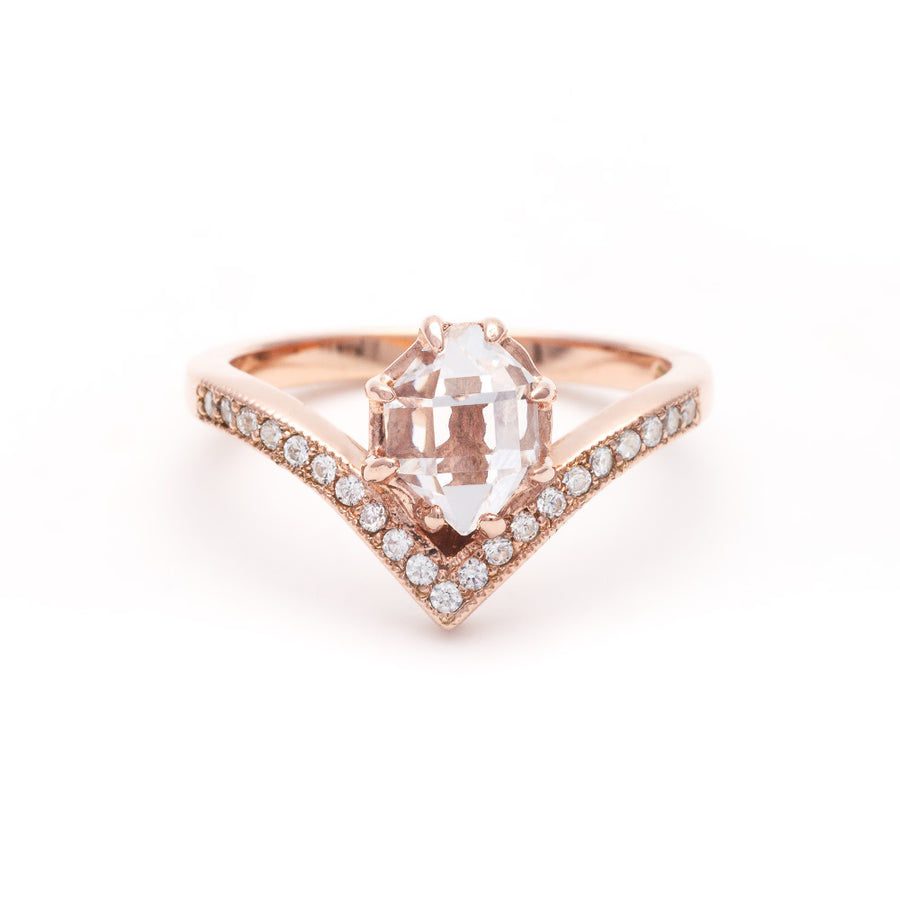 VENUSIAN RING | ROSE GOLD AND HERKIMER - AngelaMonacojewelry