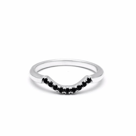NEW | PAVE ARC 9 STONE CONTOUR BAND | 14k WHITE GOLD & BLACK DIAMOND - AngelaMonacojewelry
