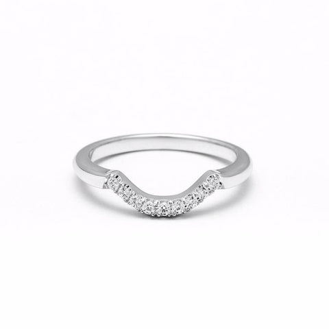 NEW | PAVE ARC 9 STONE CONTOUR BAND | 14k WHITE GOLD & DIAMOND - AngelaMonacojewelry