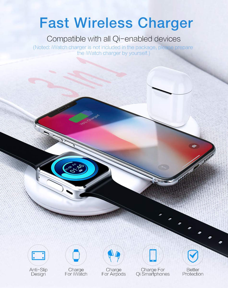 3 in 1 Wireless Charger for Iphone, Apple Watch and AirPods