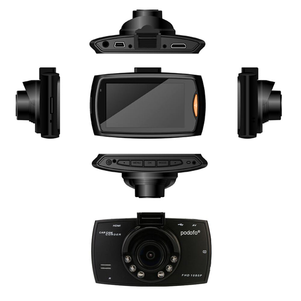 Podofo Car DVR Camera  HD 1080P 140 Degree Dashcam Video