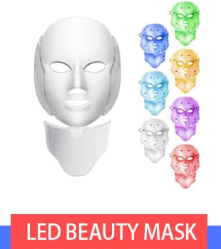 LED Light Therapy 7 Color Face and Neck Mask -Anti Ageing - Skin Care Rejuvenation