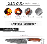 XINZUO 8.5 inch Chef Knives High Carbon VG10 Japanese Damascus Kitchen Knife With  Rosewood Handle