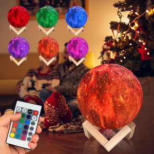 Night Light 3D Printing Moon Lamp Lunar   with 16 Colors and a Remote Control