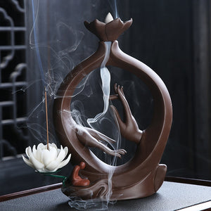Buddha Lotus Incense Ceramic Burner