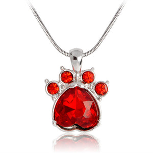 Cat Paw Birthstone Necklace