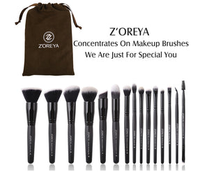 Zoreya 15pcs Black Makeup Brushes Set