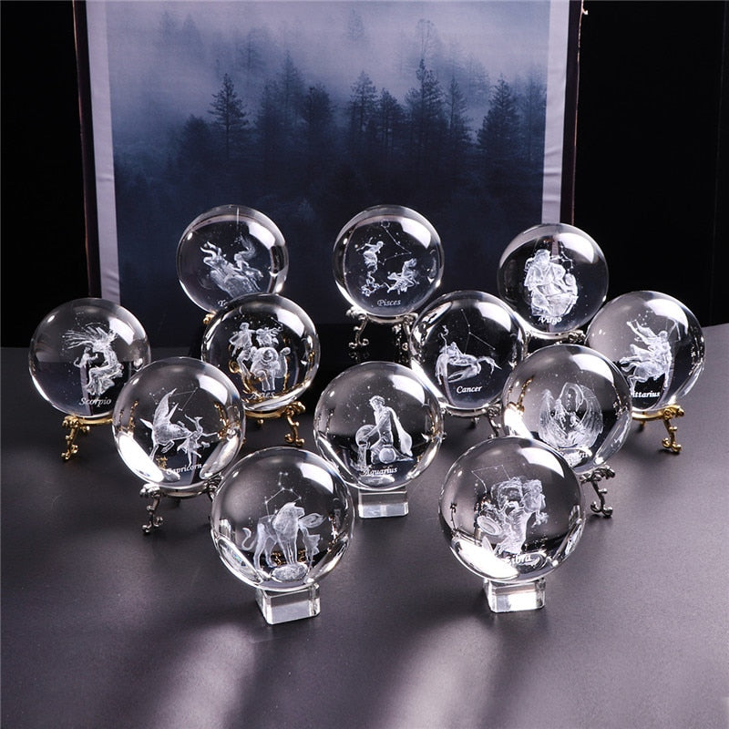 80 MM Laser Engraved Zodiac Sign Crystal Ball  -All 12 Signs Available