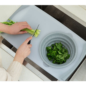 3 IN 1 Multi-function Sink Drain Basket Cutting Board