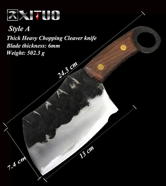 XITUO Handmade Chopping Meat Cleaver / Butcher Knife made from High Carbon Clad Steel