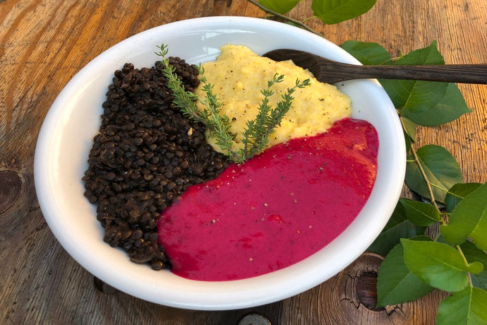 THE TRAVELLING VEGAN: Beautiful Beetroot with Lentils & Polenta