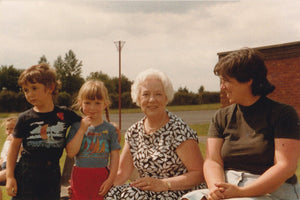 Tara Barton as a child at school sports day with Ruby Wilde Anna Barton Helen Barton