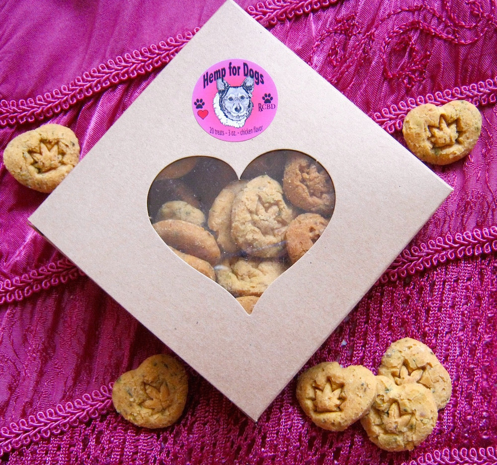 RxCBD Valentine's Day Dog Treats Hemp CBD - Heart shaped treats