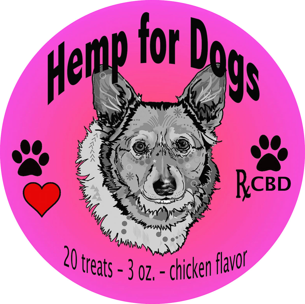 RxCBD Valentine's Day Dog Treats Hemp CBD - Label