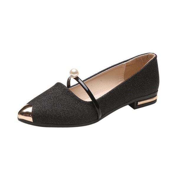 Women Flat Shoes Square Heel Pointed Toe Low Heel
