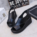 Women Thick Bottom Wedges Slope Open Toe Sandals Buckle Strap Shoes