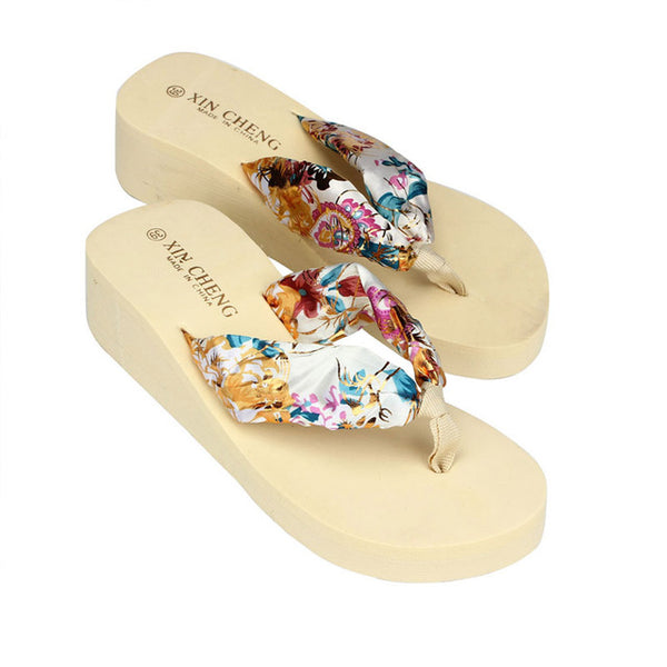 Womens Flip Flops Bohemia Floral Sandals Wedge Platform Thongs Slippers