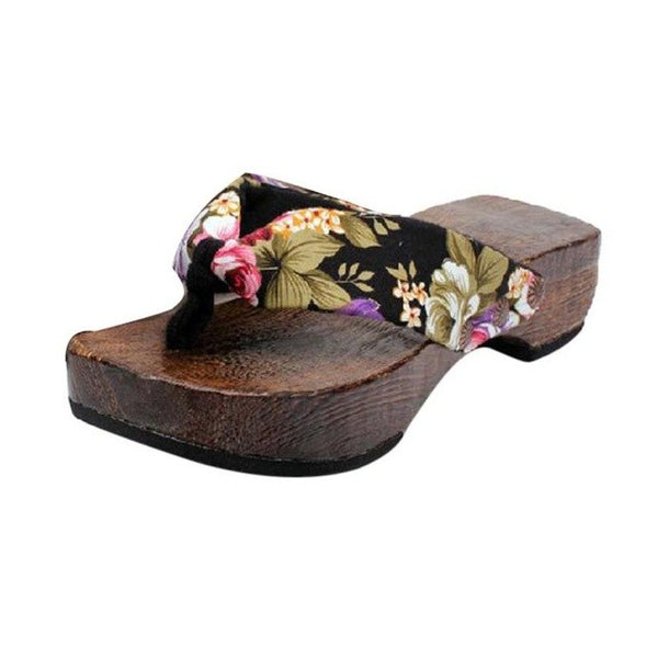 Shoes Women Platform Slides Wood Sandals Clog Wooden Slippers Flip Flops