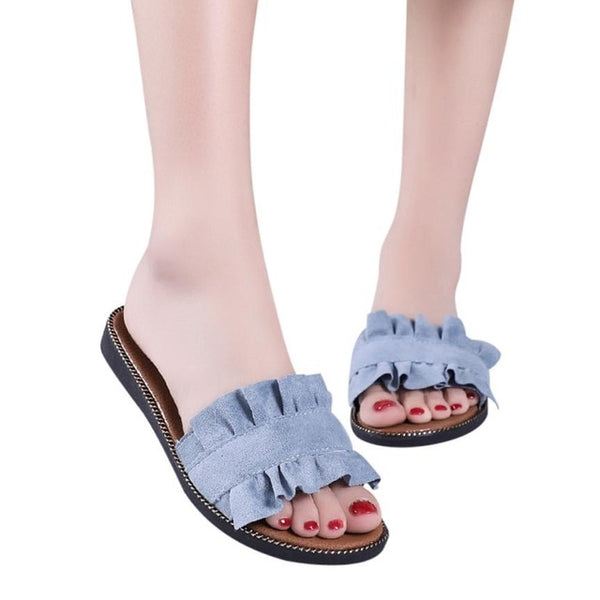 Women Flip Flops Slipper Solid Flat Heel Shoes