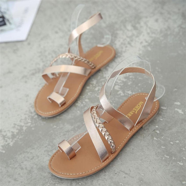Women Strappy Gladiator Low Flat Heel Flip Flops Sandals Shoes