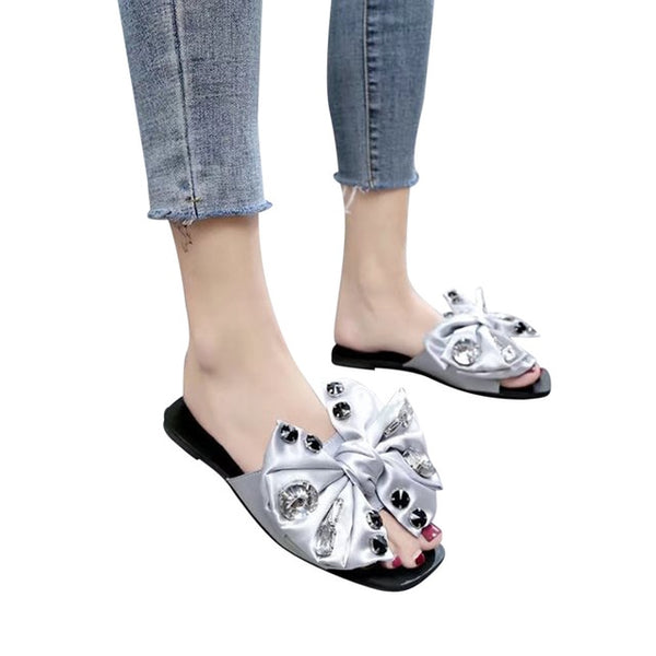 Womens  Slippers Flower Bow Flat Heel Shoes Bow Tie Sandals Flip Flops