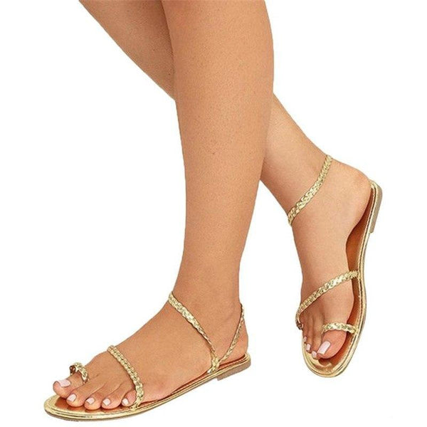 Women Strappy Gladiator Low Flat Heel Flip Flops Sandals