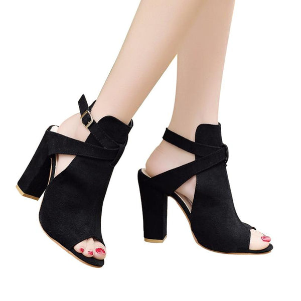Women Sandals Solid Flock Peep Toe Wedges Hasp High Heeled